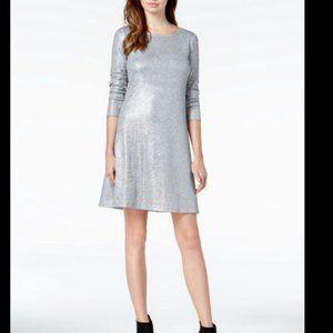 Bar III Dress, Silver Textured